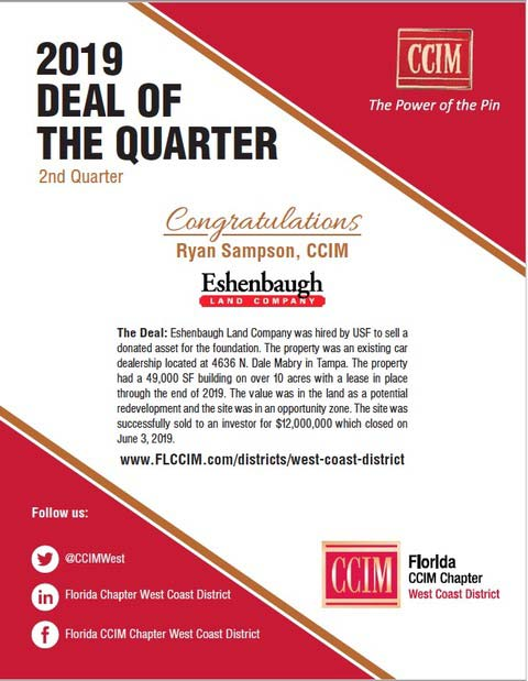 CCIM Deal of the quarter awarded to Ryan Sampson